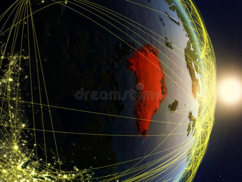 La Groenlandia su pianeta Terra di reti immagine stock