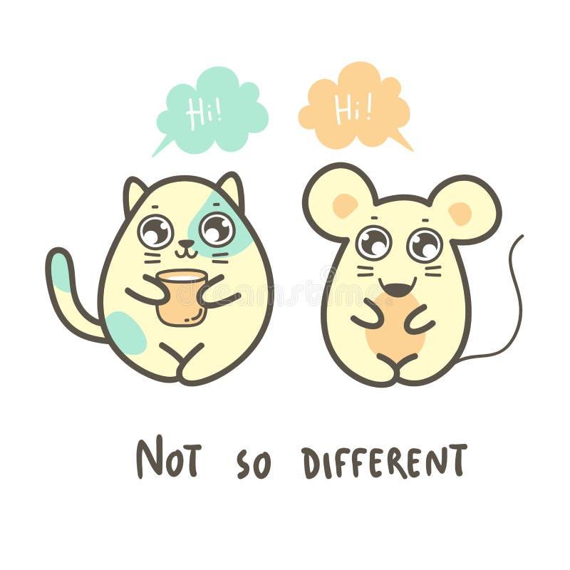 La gros souris et chat mignons indiquent salut illustration stock