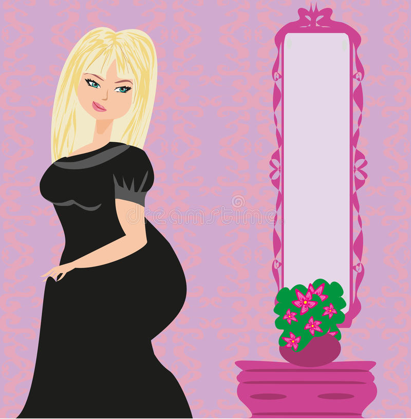 la grosse fille regarde elle-même dans le miroir illustration libre de droits
