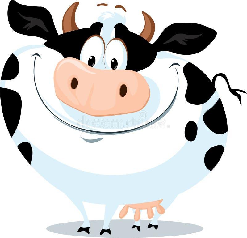 La grosse illustration mignonne de bande dessinée de vecteur d'animal de ferme de vache illustration stock