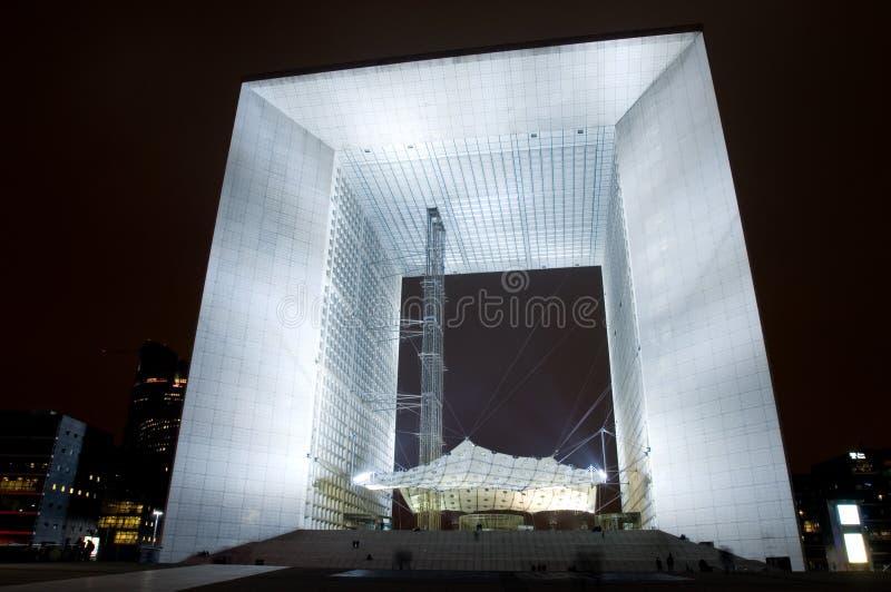 La Grote Arche bij Nacht royalty-vrije stock fotografie