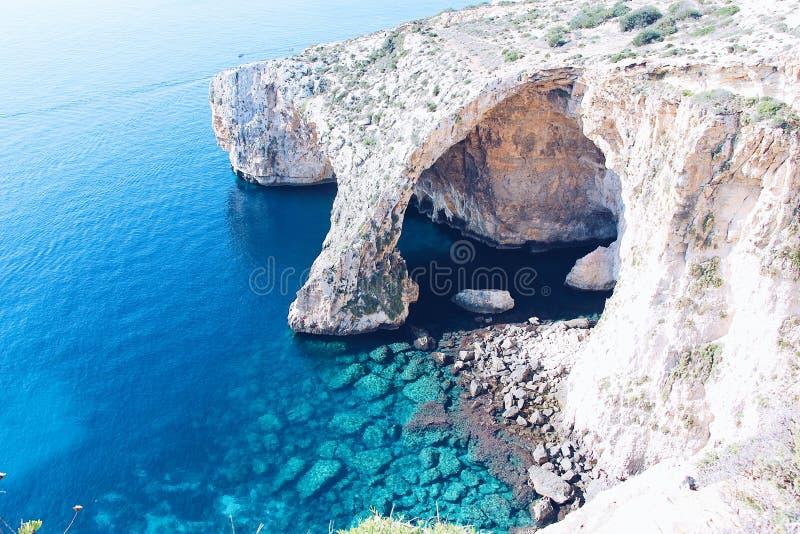 La grotte bleue à Malte photographie stock