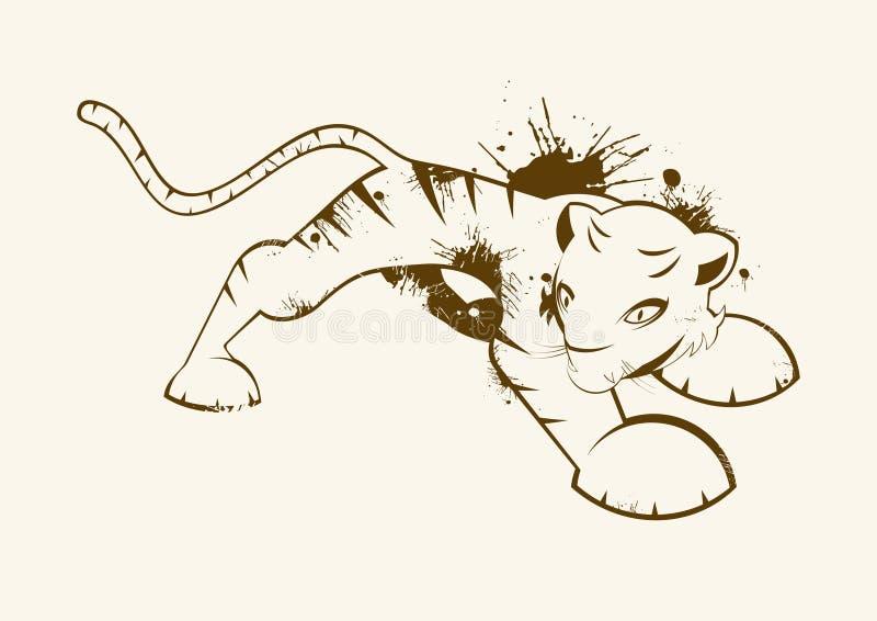 la grunge a illustré le tigre illustration de vecteur