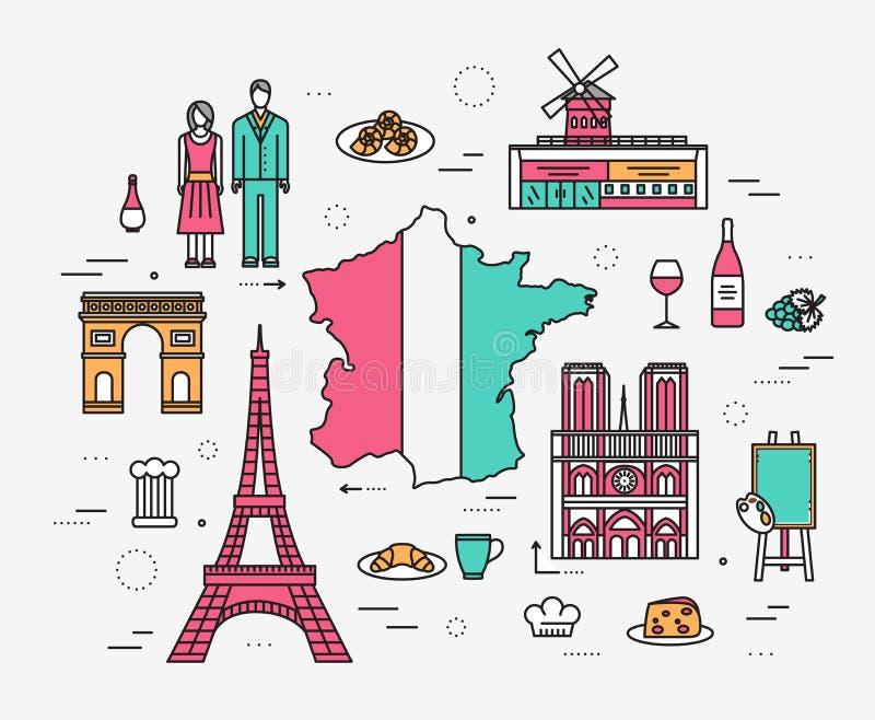 La guía del viaje de Francia del país de las mercancías, lugares en las líneas estilo finas diseña Sistema de arquitectura, moda, libre illustration