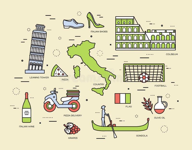La guía del viaje de Italia del país de las mercancías, lugares en las líneas estilo finas diseña Sistema de arquitectura, moda,  libre illustration