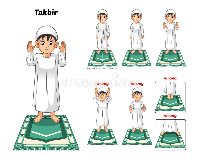 La guía musulmán de la posición del rezo paso a paso se realiza por el muchacho que coloca y que aumenta las manos con la posició stock de ilustración