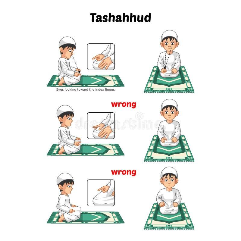 La guía musulmán de la posición del rezo paso a paso se realiza por el muchacho que sienta y que aumenta el dedo índice con la po libre illustration