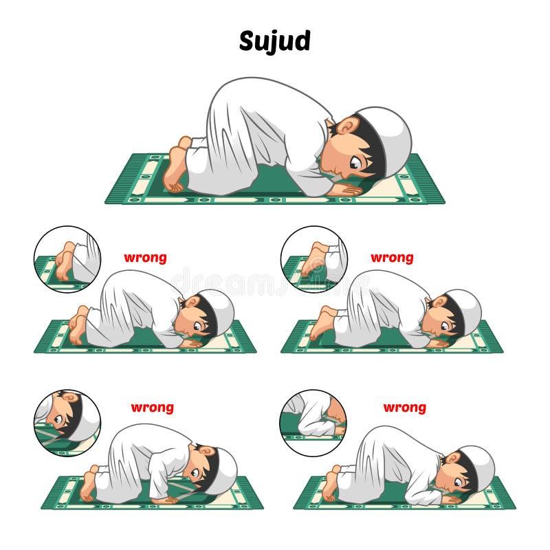 La guía musulmán de la posición del rezo paso a paso se realiza por Prostrating del muchacho y la posición de los pies con la pos ilustración del vector