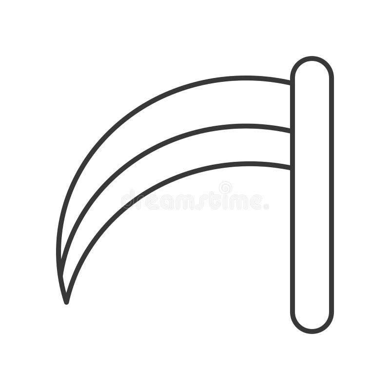 La guadaña de la muerte, Halloween relacionó el icono hueco del esquema, st editable stock de ilustración