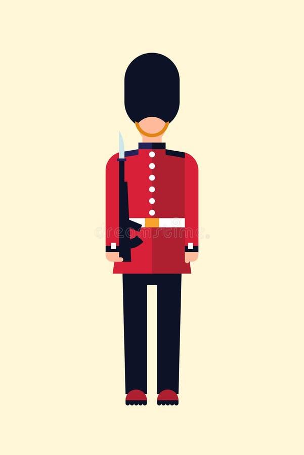 La guardia del London Queens Vector immagine di un soldato britannico in uniforme con una pistola Icona GUID isolata alla luce royalty illustrazione gratis