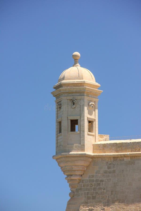 La Guardiola-Turm in Senglea, Malta Drei Städte der meiste Anziehungskraftplatz stockfotografie