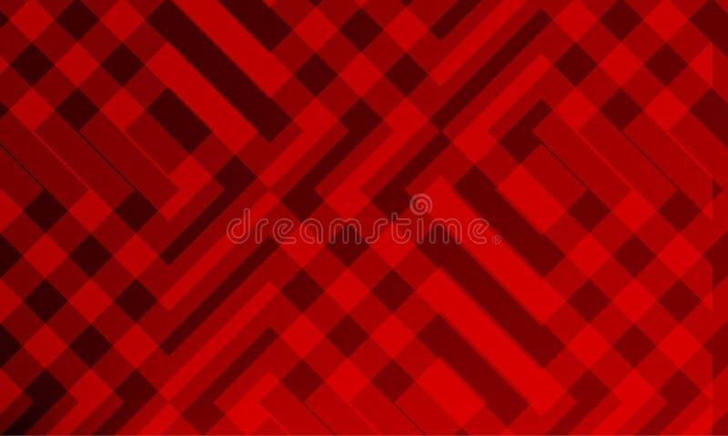 La guarnición abstracta roja vertió el papel pintado del fondo de 3 d Diseño, ilustración del vector