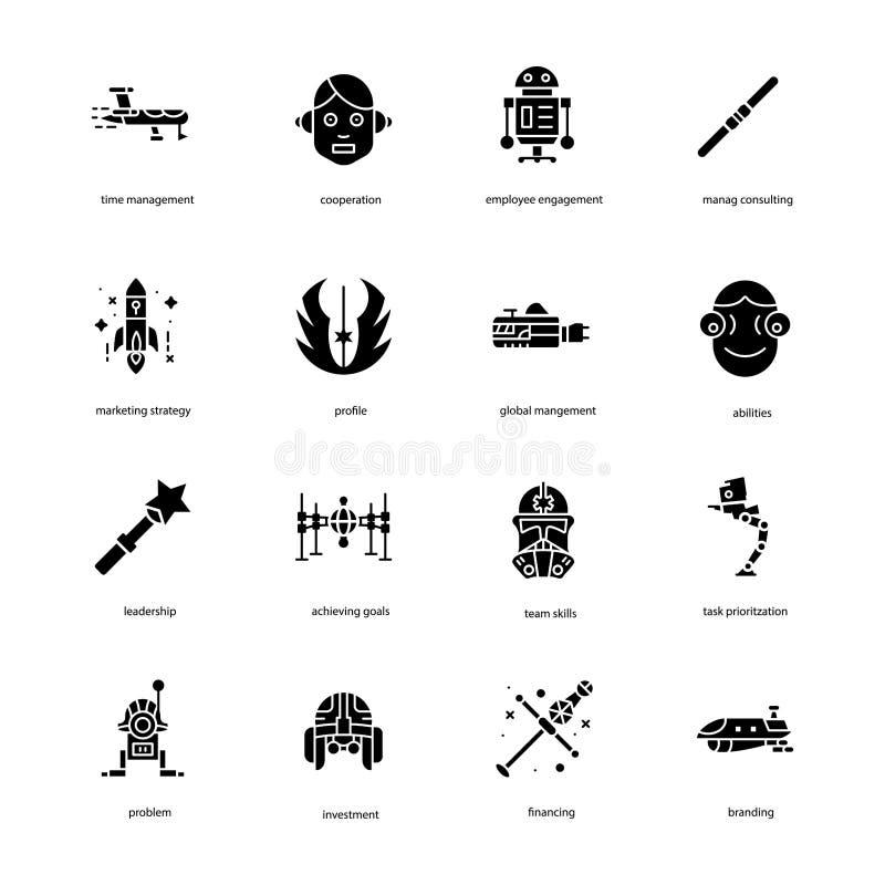 La Guerre des Étoiles a rempli icônes emballent illustration de vecteur