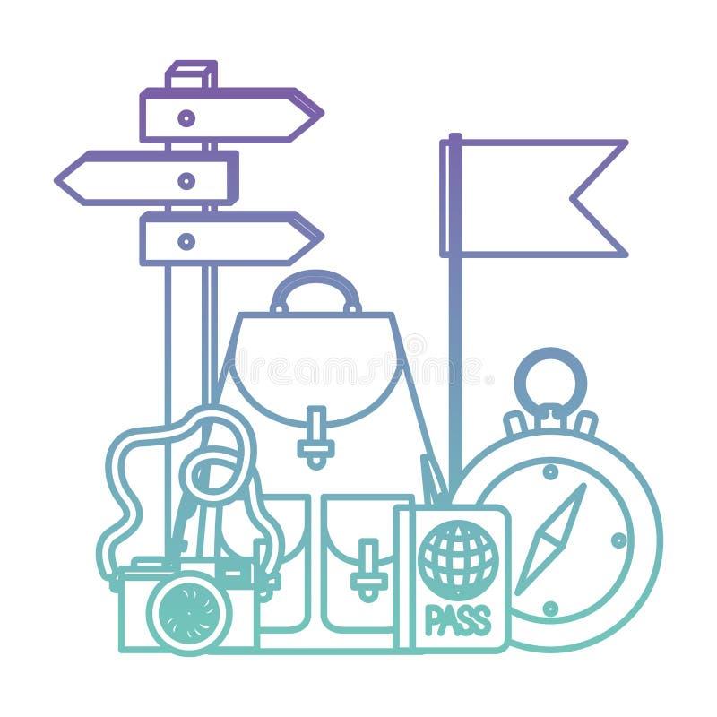 La guida della bussola con il viaggio ha messo le icone illustrazione vettoriale