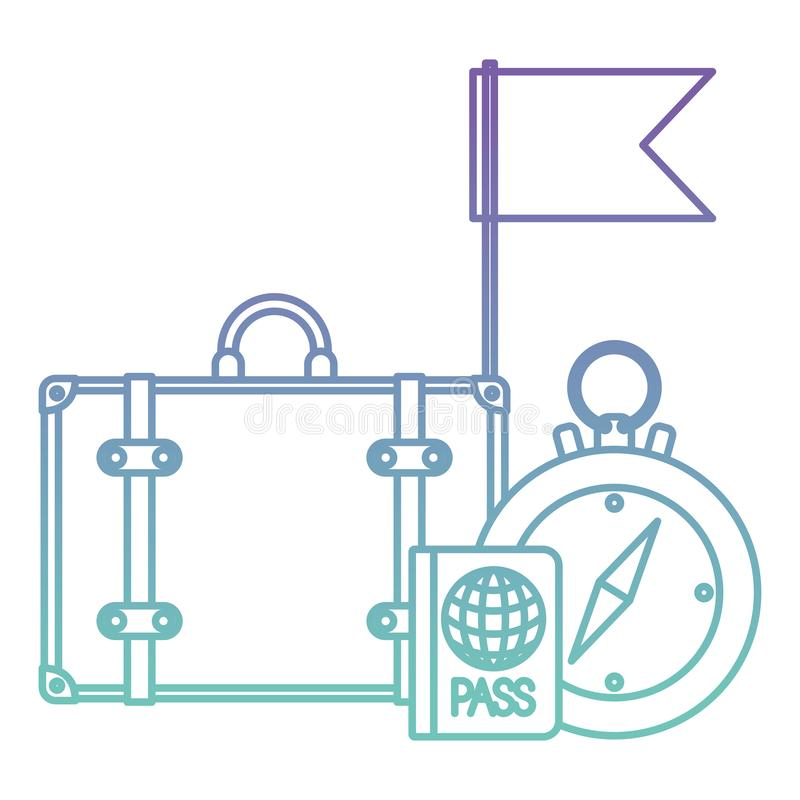 La guida della bussola con il viaggio ha messo le icone royalty illustrazione gratis