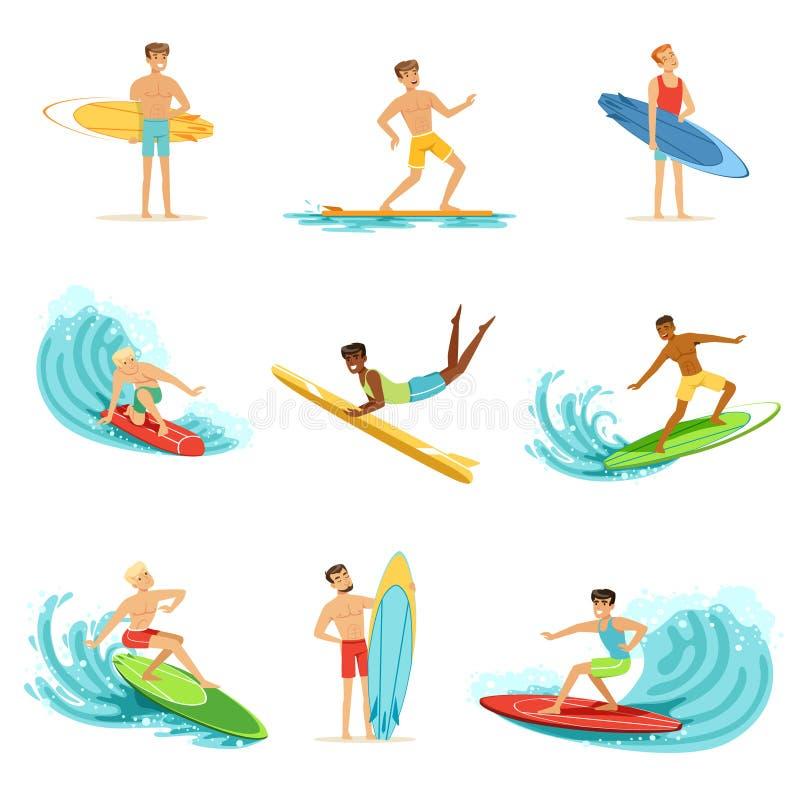 La guida di Surfboarders sulle onde ha messo, uomini del surfista con i surf nelle illustrazioni differenti di vettore di pose royalty illustrazione gratis