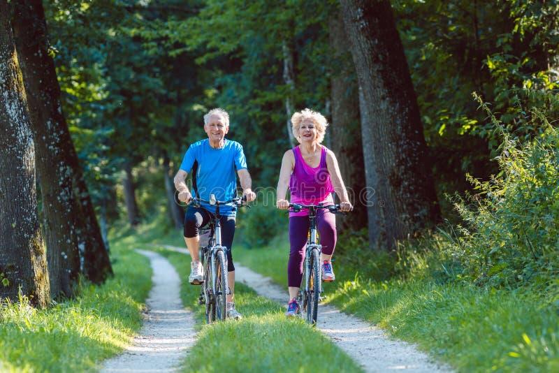La guida senior felice e attiva delle coppie va in bicicletta all'aperto nel parco fotografia stock libera da diritti