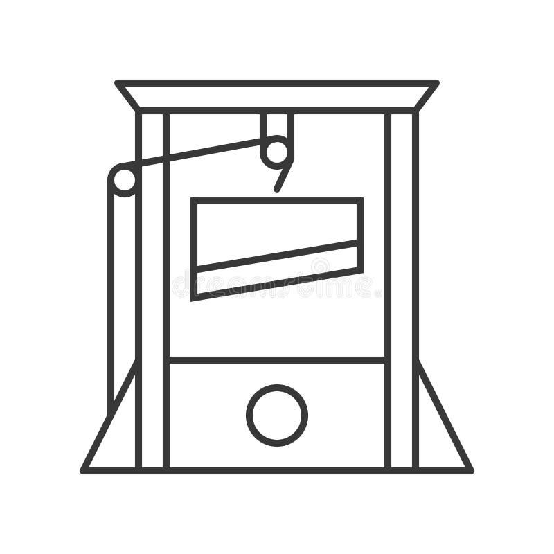 La guillotina, Halloween relacionó el icono hueco del esquema, stro editable ilustración del vector