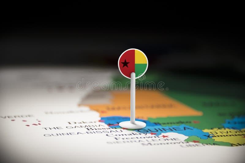 La Guinée-Bissau a identifié par un drapeau sur la carte image libre de droits