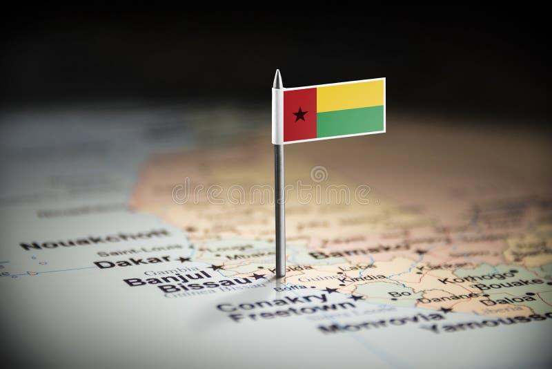 La Guinée-Bissau a identifié par un drapeau sur la carte photo libre de droits
