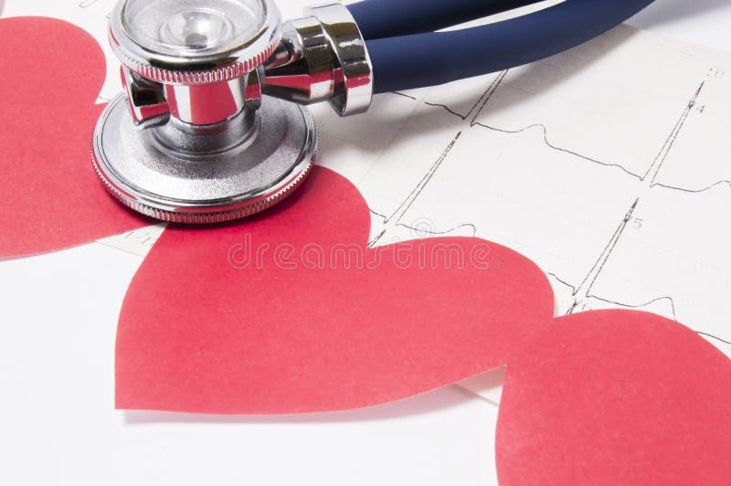 La guirlande avec les coeurs rouges se trouvent sur l'électrocardiogramme avec la tête de stéthoscope, comme si écoutant sur un d photographie stock libre de droits
