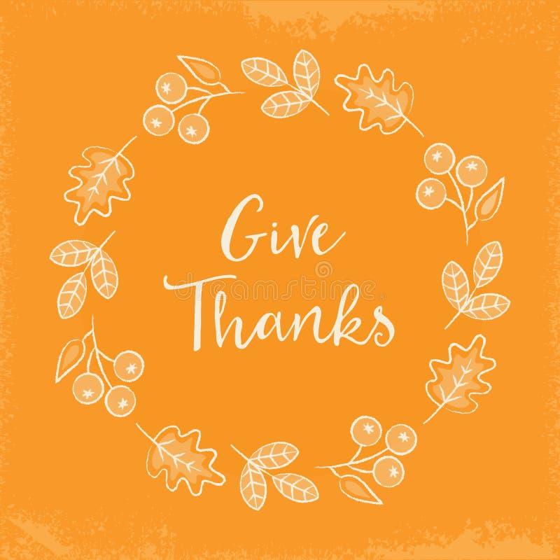 La guirlande d'automne de calibre de carte de voeux de thanksgiving laisse des baies illustration libre de droits