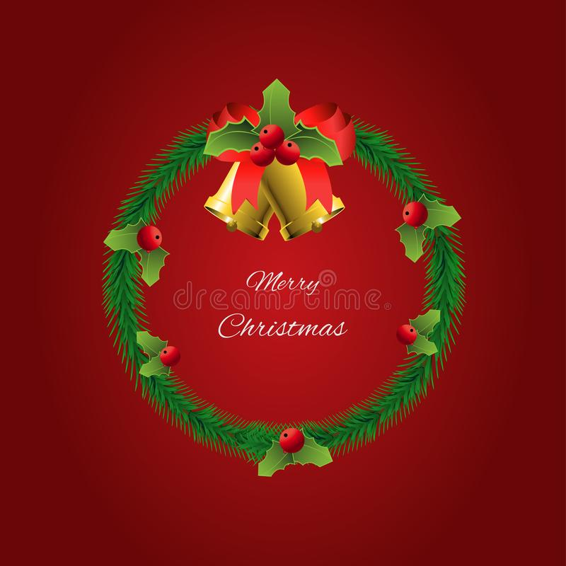 La guirlande de Noël avec des décorations sur fond rouge photographie stock libre de droits