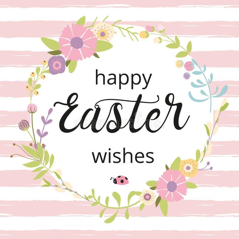 La guirlande de Pâques avec des fleurs Typogrpahy de ressort citent des souhaits heureux de Pâques sur la carte de voeux blanche  illustration stock
