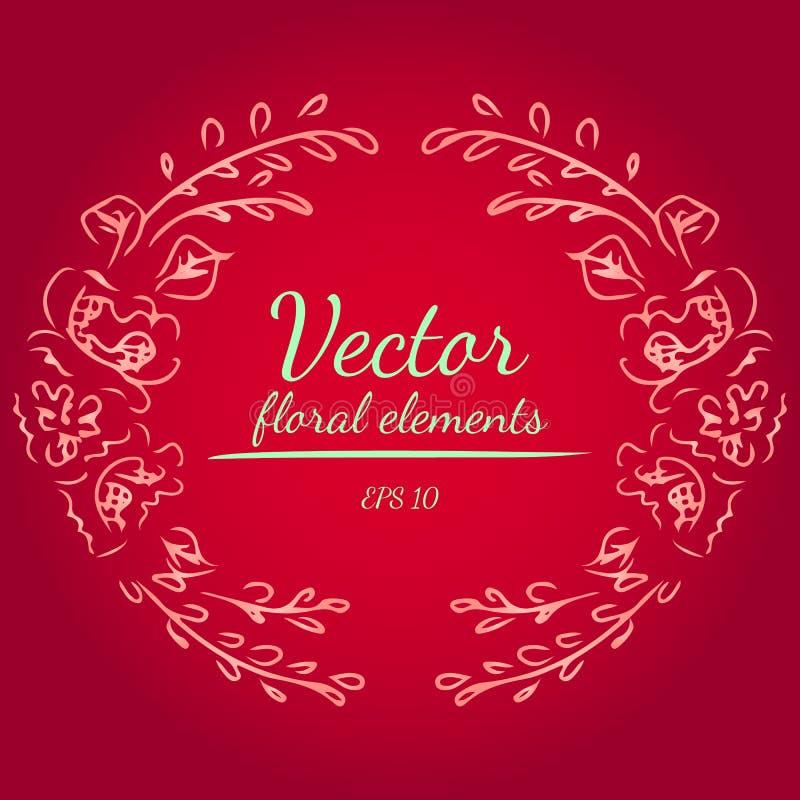La guirlande des fleurs de pivoines s'embranchent sur le fond de couleur rouge ?l?ments floraux de conception de cadre de cercle  illustration libre de droits
