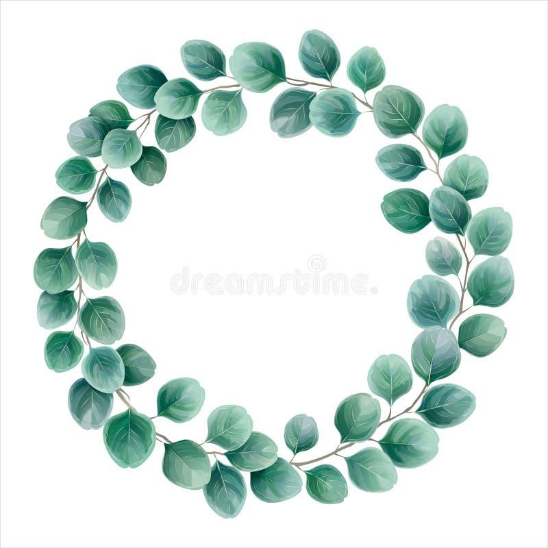 La guirlande ronde de l'eucalyptus s'embranche le dollar en argent Aquarelle VE illustration libre de droits