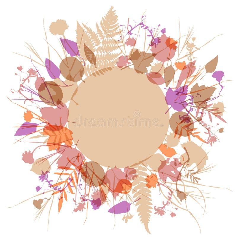 La guirlande ronde florale de cadre des fleurs, conception naturelle laisse des éléments de fleurs illustration de vecteur