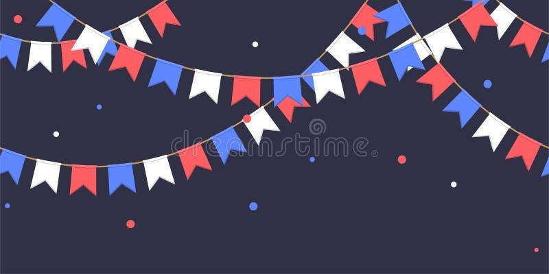 La guirlande sans couture avec la célébration marque la chaîne, le blanc, le bleu, les banderoles rouges avec des confettis sur l illustration de vecteur