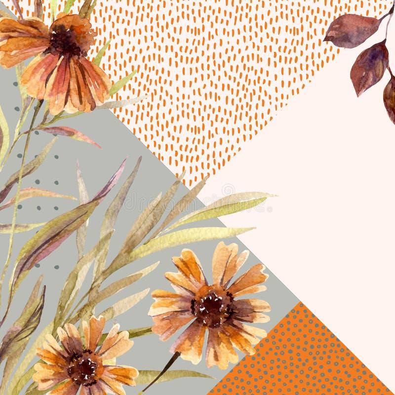 La guirnalda de la acuarela del otoño en fondo geométrico con las flores, hojas, garabatea libre illustration