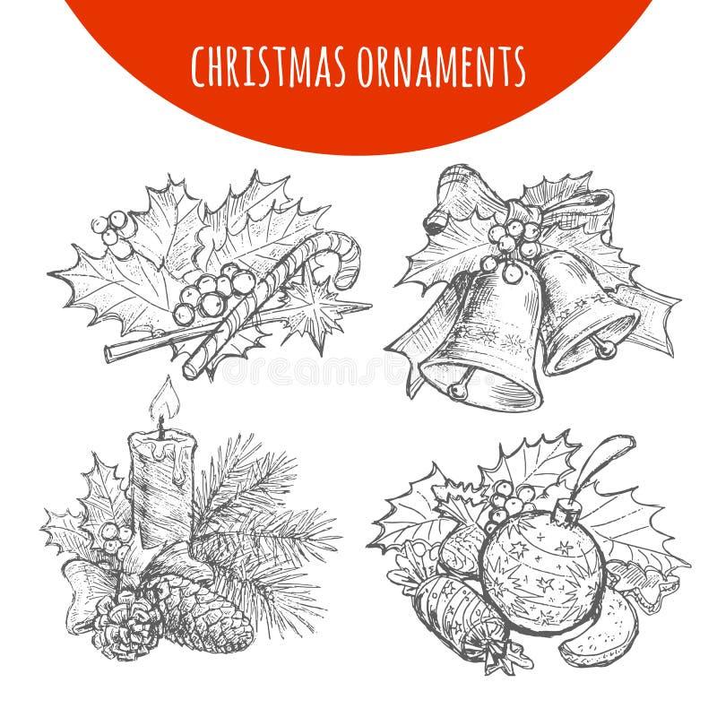 La guirnalda de la Navidad arquea, las campanas, bosquejo del vector de la vela stock de ilustración