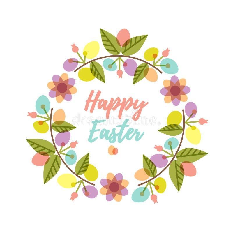 La guirnalda de Pascua con los huevos y la flor coloridos del modelo ramifica libre illustration