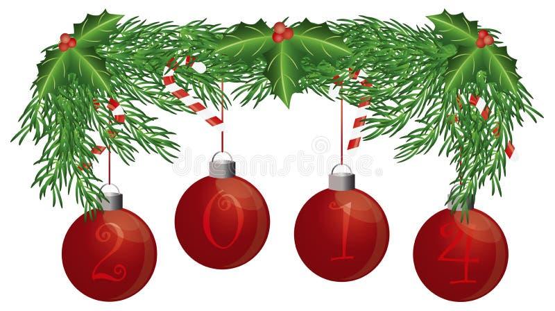 La guirnalda del árbol de navidad con 2014 ornamentos aisló el ejemplo ilustración del vector