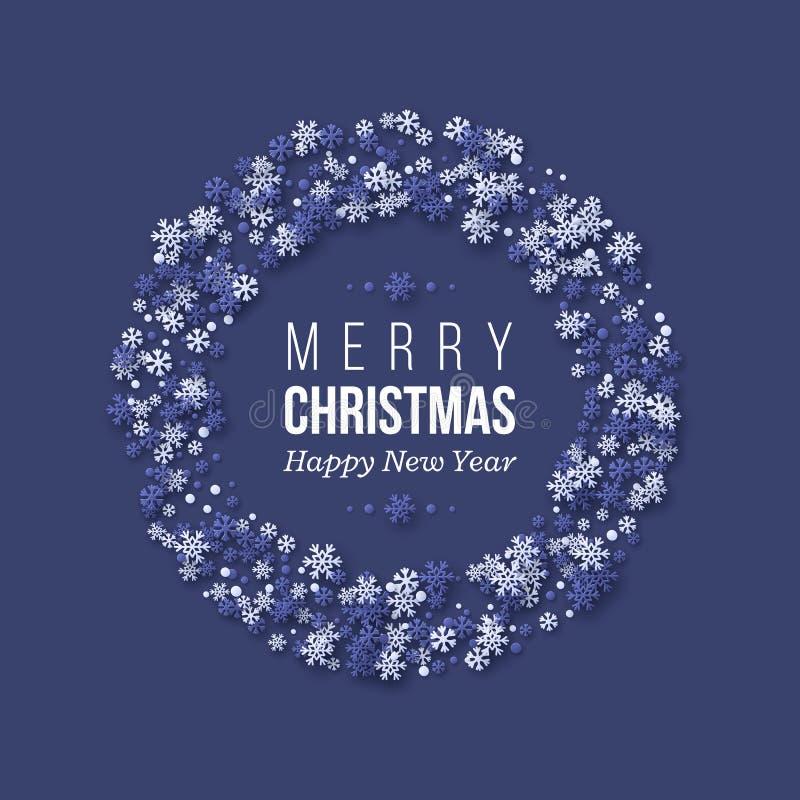 La guirnalda del día de fiesta de la Navidad con el papel cortó los copos de nieve del estilo Fondo azul marino con el texto del  stock de ilustración