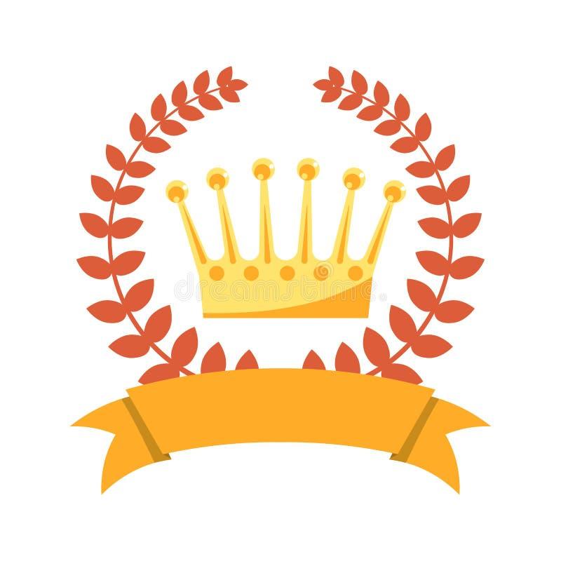La guirnalda del laurel, reyes del oro corona y cinta vacía stock de ilustración