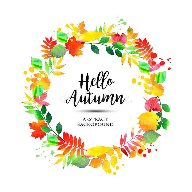 La guirnalda del otoño de la acuarela coloreada sale del marco del fondo natural ilustración del vector
