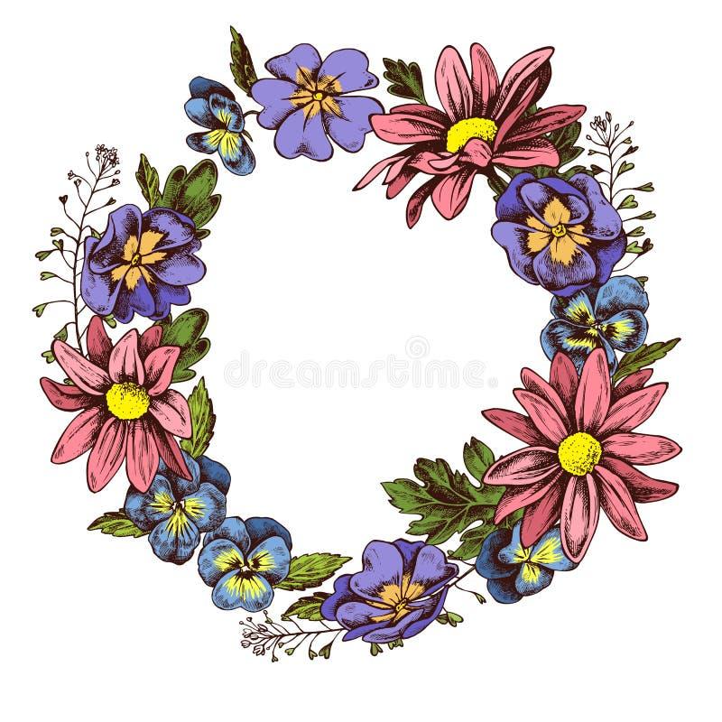 La guirnalda floral de los crisantemos de los heartseases y el pastor fruncen el illustation dibujado mano del vector imagen de archivo