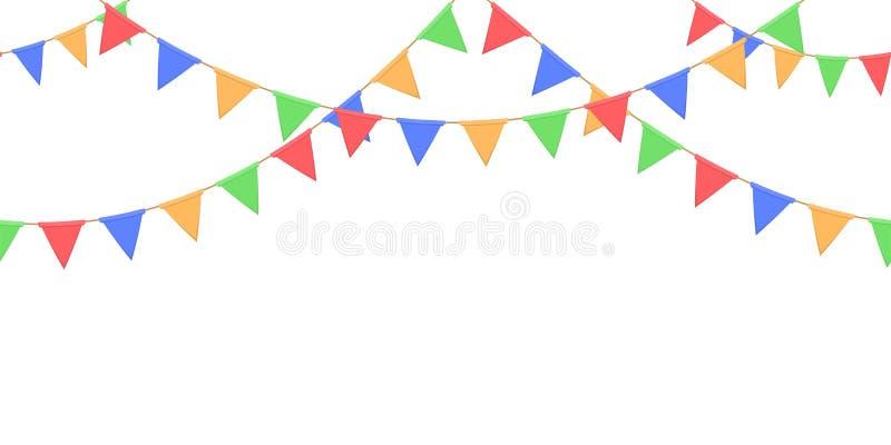 La guirnalda inconsútil con la celebración señala la cadena, el amarillo, el azul, el rojo, pendones verdes en el fondo blanco, e imagen de archivo