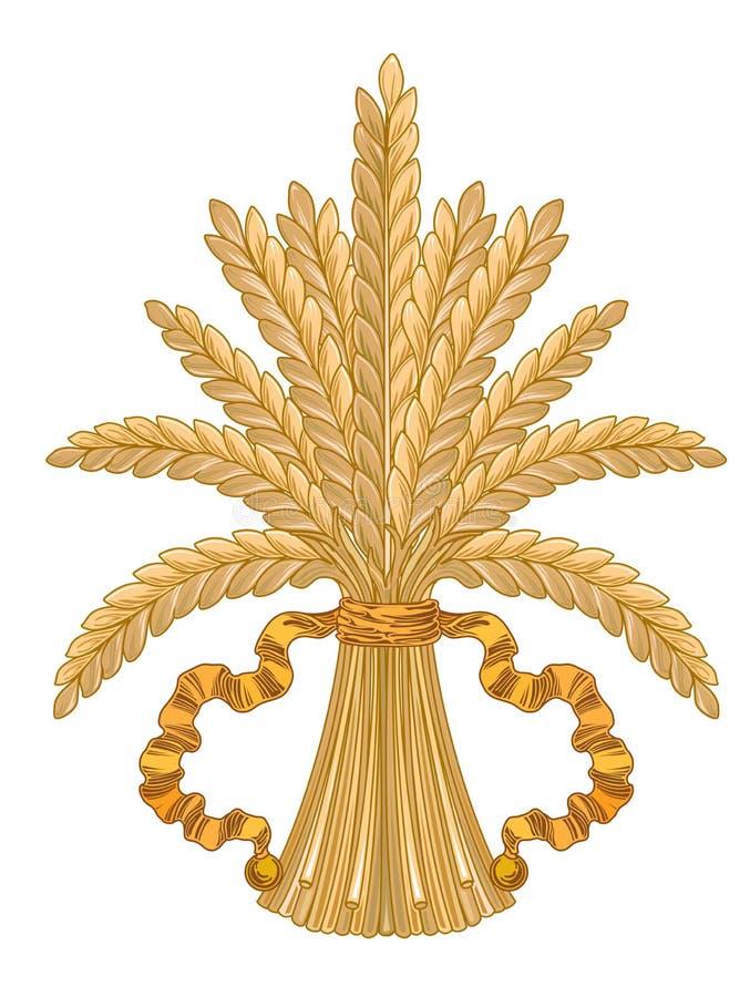 La guirnalda oriental abstracta del trigo de las banderas de las cintas ramifica ejemplo ilustración del vector