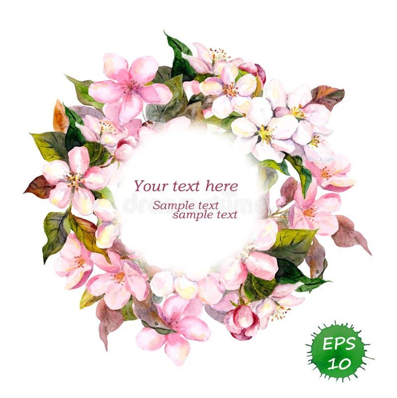 La guirnalda redonda floral con las flores rosadas para el vintage elegante y la moda diseñan Vector de la acuarela stock de ilustración