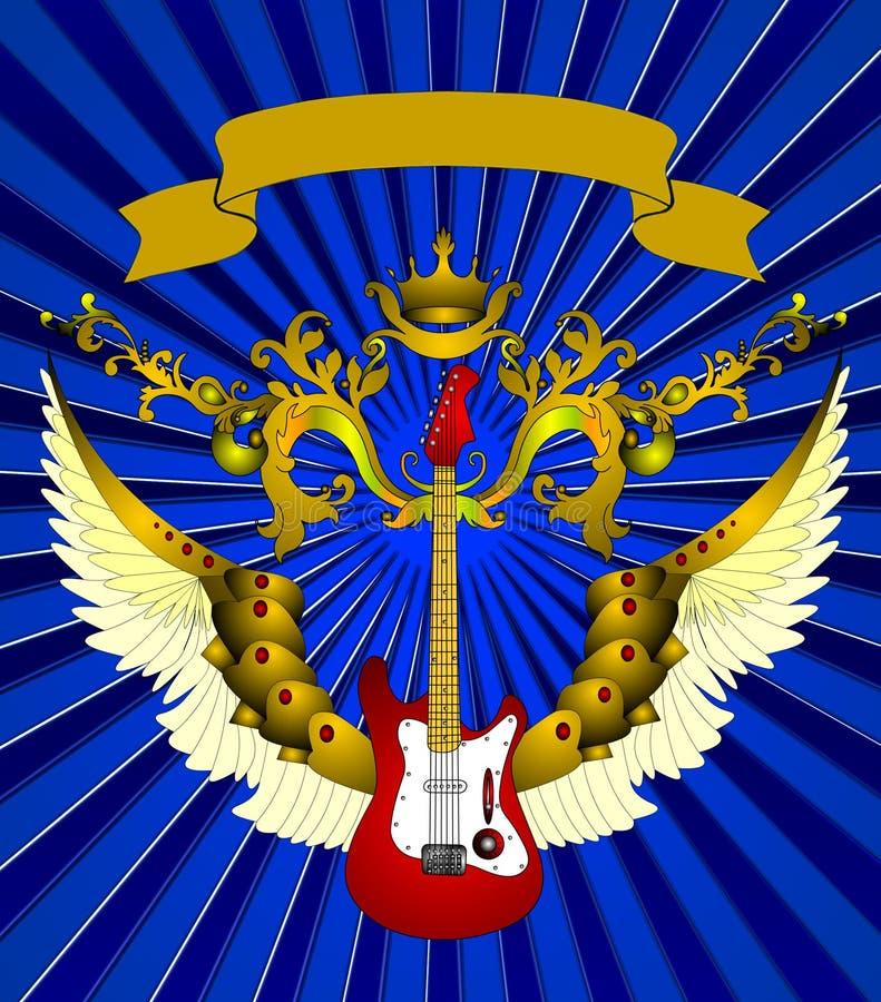 La guitare avec la corona illustration libre de droits