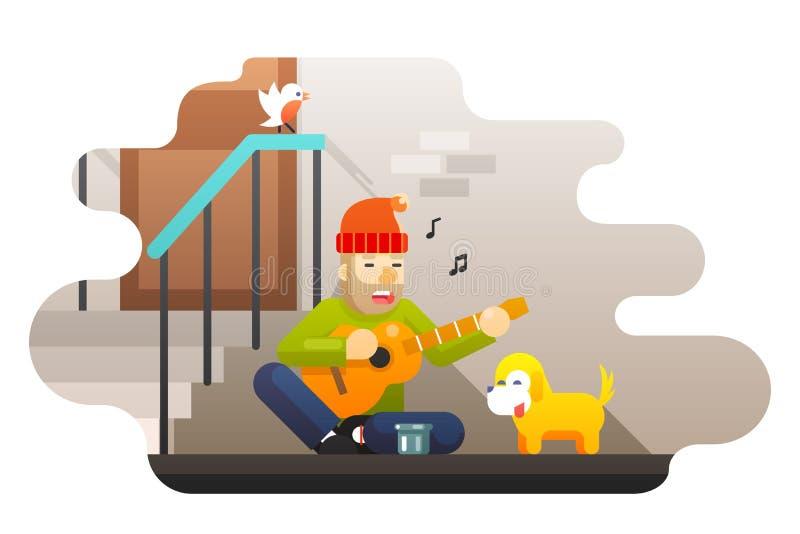 La guitare sans abri de jeux de pauvre homme au sujet du froid dur de faim de la vie demande l'oiseau de porte de mur de rue de c illustration stock