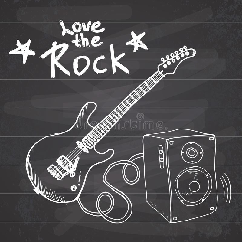 La guitare tirée par la main de croquis de musique rock avec la caisse de résonance et le texte aiment la roche, illustration de  illustration stock