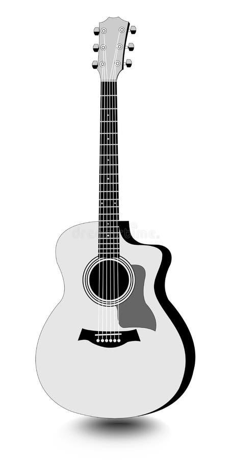 La Guitarra Aisló El Dibujo Monocromático Con La Sombra En El Fondo ...