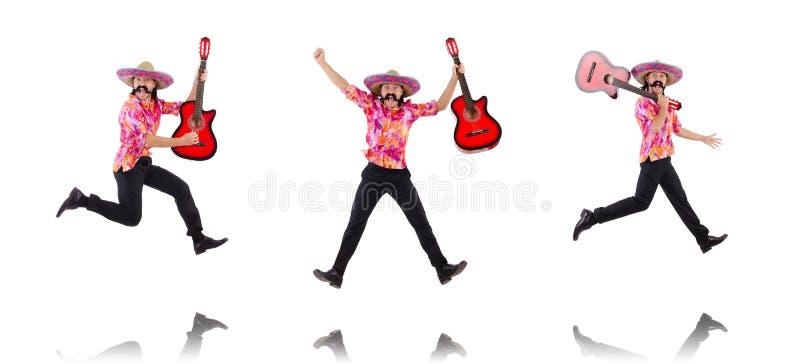 La guitarra que blande masculina mexicana aislada en blanco fotos de archivo libres de regalías