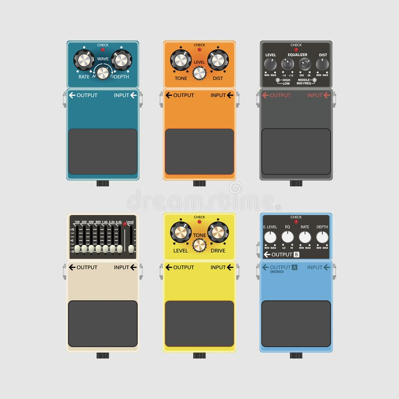 La guitarra realista efectúa el pedal y pisa fuerte las cajas stock de ilustración