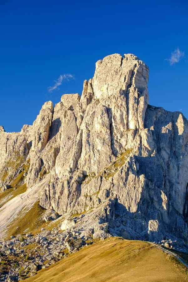 La Gusela山, Passo Giau,白云岩 免版税库存照片